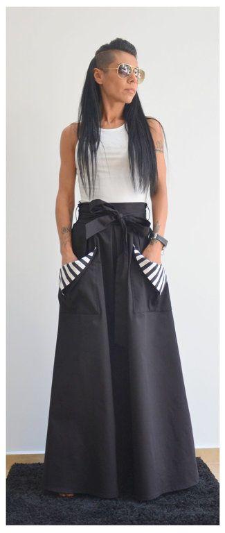 Юбка с карманами Milana/ Стильная юбка /Морской стиль /Принт в полоску