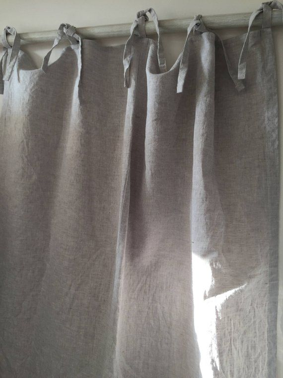 Linen Tie Top Curtains Linen Curtain Ties Curtain Room Divider Rustic Draperies Linen Window Treatments Tie Top Curtains Linen Curtains Homemade Curtains Drop Cloth Curtains