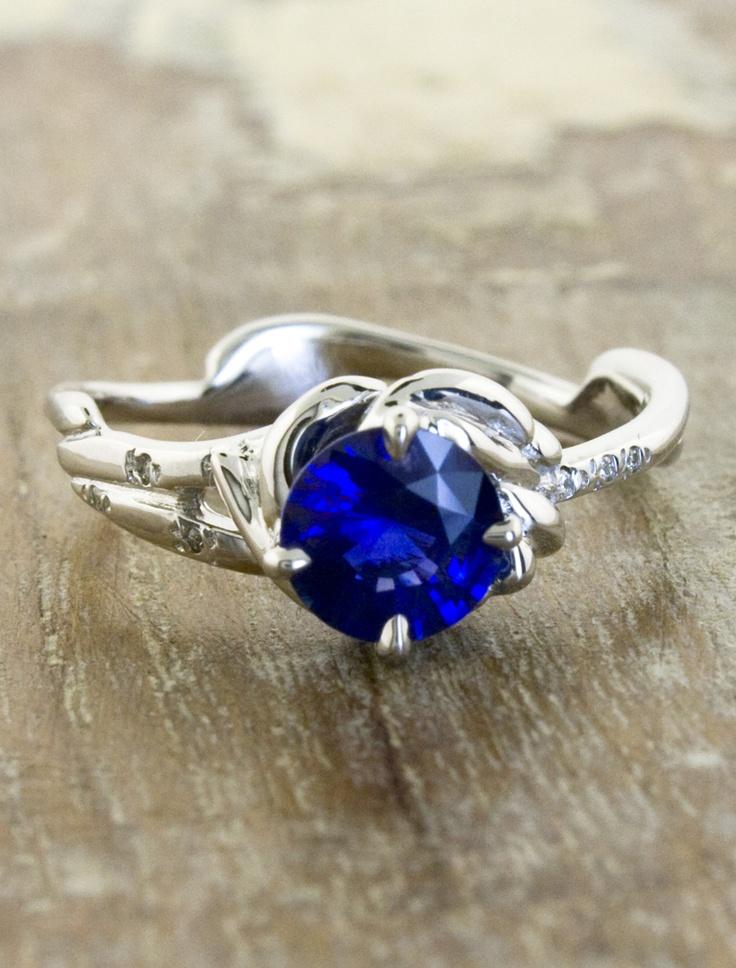 Unique Sapphire engagement ring by ken and dana design