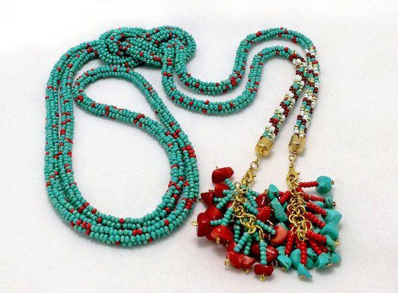 Turquoise lariat. Long necklace. Crochet beaded rope. от Amikkaru
