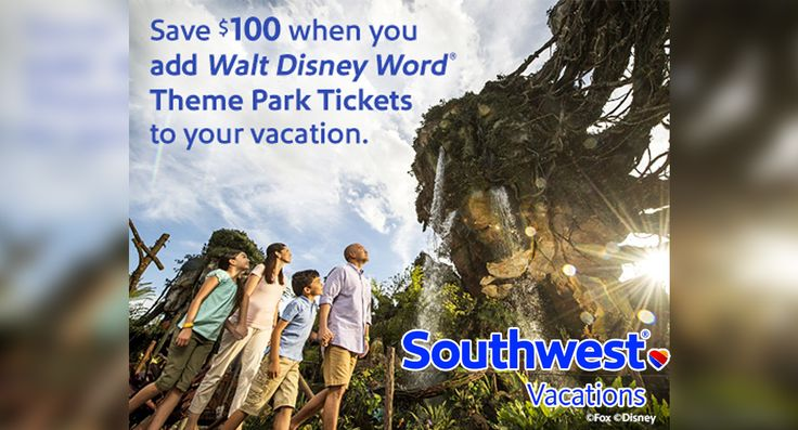 Save $100 When You Add Walt Disney World Theme Park Tickets to your Vacation at #SouthwestVacations  #Travelling #Outing #Fun #Entertainment