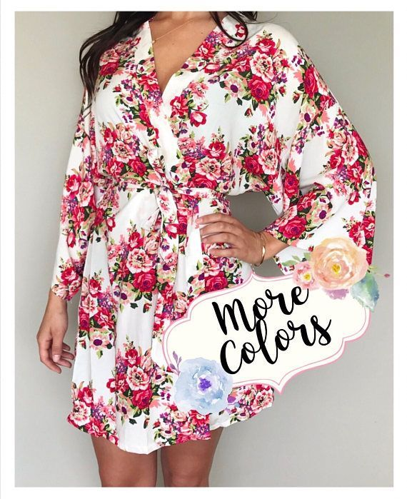 Our cotton garden floral robes make a perfect gift for your bridesmaids, made of honor, mother of the bride, mother of the groom, and getting ready photos for your big day. This listing you can choose the robe with or without personalization.  **ROBE DESCRIPTION**  - 6 different colors - 100% cotton - One size / 0-12 (36 inches long, 48 inches wide) - Plus size / 14-18 (39 inches long, 55 inches wide) - 3/4 kimono style sleeves with matching belt  **HOW TO ORDER**  Please choos...