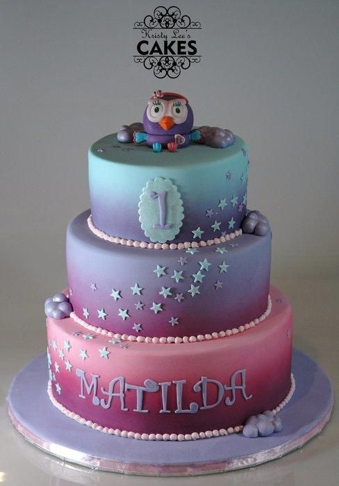 Themed on the ABC2 television segment Giggle and Hoot character Hootabelle. Three tiers of choc mud with belgian dark choc ganache. Tiers are airbrushed to create colour blends.