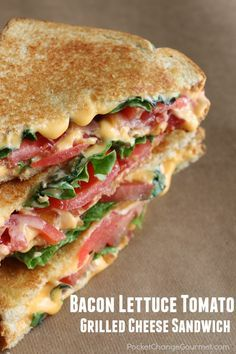 This Bacon Lettuce and Tomato Grilled Cheese Sandwich looks delicious!
