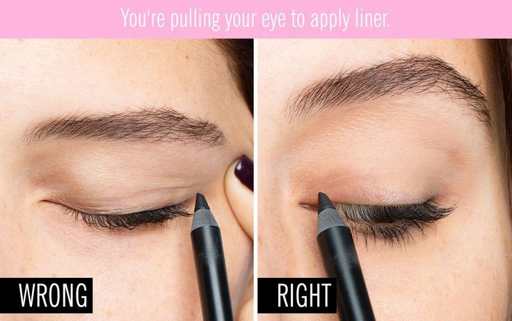 You're pulling your eye to apply liner — learn how to fix this mistake here.