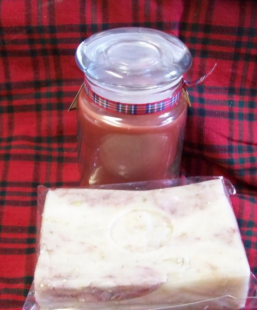 Outlander inspired Jamie Fraser scented soap and candle set.
