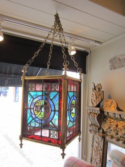 Antiques Atlas - Impressive Victorian Stained Glass Lantern