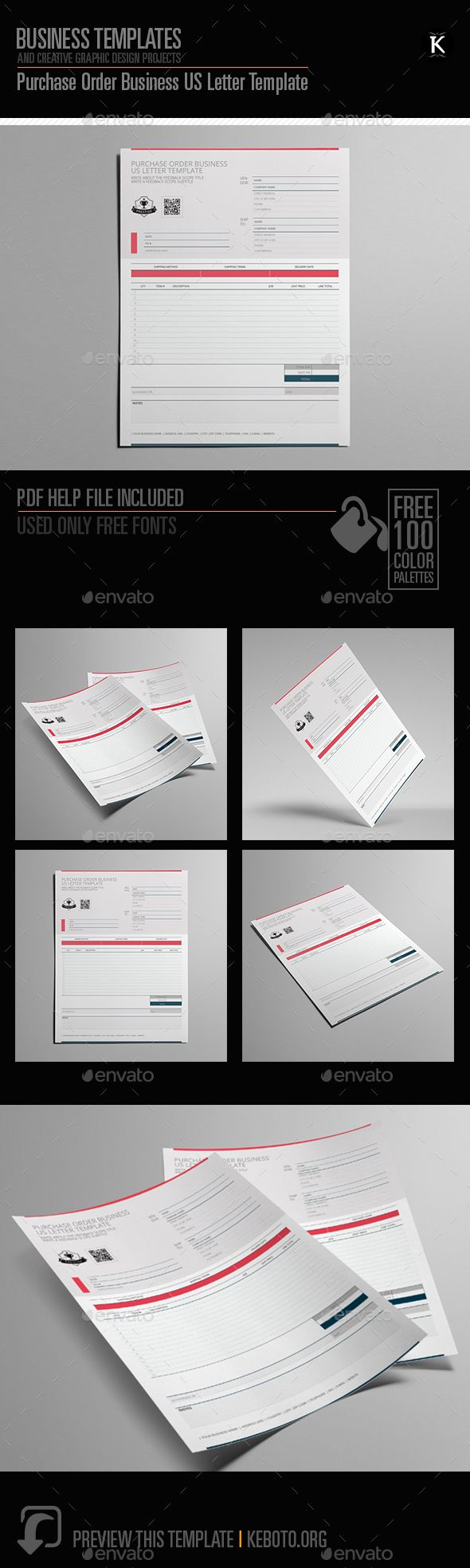 Purchase Order Business US Letter Template - Miscellaneous #Print Templates