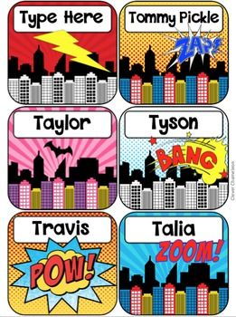 Superheros - Comic Cartoon Style Name Tags or Labels in Two SizesThere are six labels on one PowerPoint slide that can easily be duplicated.Each label is 3.2 by 3.5.On the smaller version, there are twelve name tags or labels on each slide. Each label is 2.3 by 2.45.Each label is a separate piece of clip art with a text box sitting over the label.