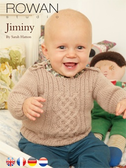 Jiminy, Rowan, FreeKnitting Pattern.   Knit this childrens cable panelled sweater, a free pattern download as part of the Rowan Studio issue 30 collection, a design by Sarah Hatton using the beautiful yarn Baby Merino Silk DK (merino super wash wool and tussah silk).With a lovely cable panel detail, cute button fastenings at the shoulders and a ribbed detail across the chest of the design, this knitting pattern is for the intermediate knitter
