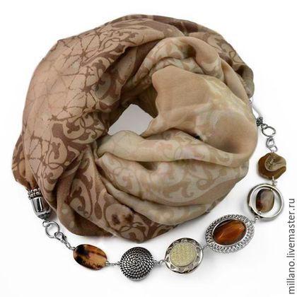 Шарфы и шарфики ручной работы. Ярмарка Мастеров - ручная работа. Купить Хлопковый Шарф ожерелье с бижутерией коричневый.…