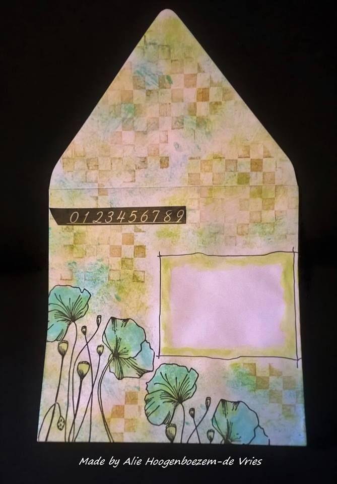 Altered envelope, made by Alie Hoogenboezem-de Vries