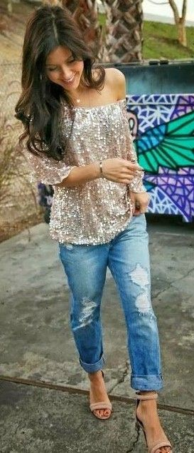 Spring Outfit - Glitter Top - Boyfriend Jeans - Nude Heel Sandals