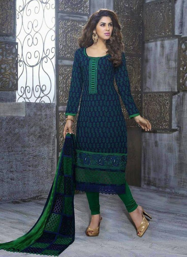 Blue Green Cotton Jacquard Cotton Nazninn Butti Karachi Designer Salwar