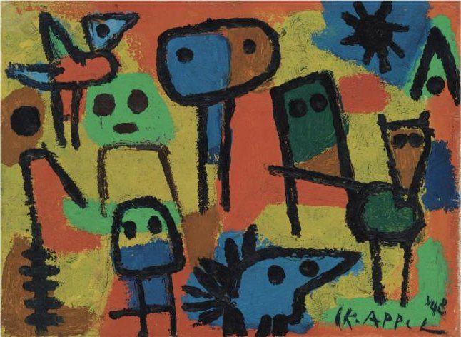 Karel Appel (1921-2006) was een Nederlands schilder en beeldhouwer in de moderne kunst uit de tweede helft van de twintigste eeuw. Hij brak door met zijn lidmaatschap van de Cobra-groep. Hij liet zich in deze periode vooral beïnvloeden door de kunst van Picasso, Matisse en Jean Dubuffet.-1948