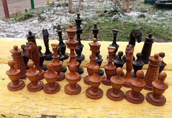 Antique Wooden Chessmen Set Old Chess Pieces Vintage Ancient