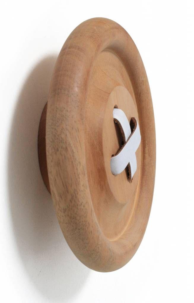 """Brand: HK-living  Wooden """"button"""" hook   Haak bruin naturel hout 3 maten Ø6,13 en 18cm, Knoophaken"""