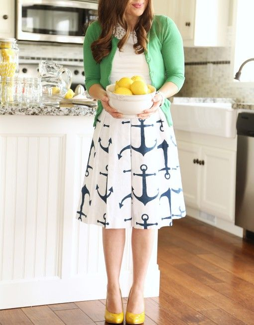 Add a pop of color to a fun patterned skirt like this for a fun look at all your summer BBQs or in the office!