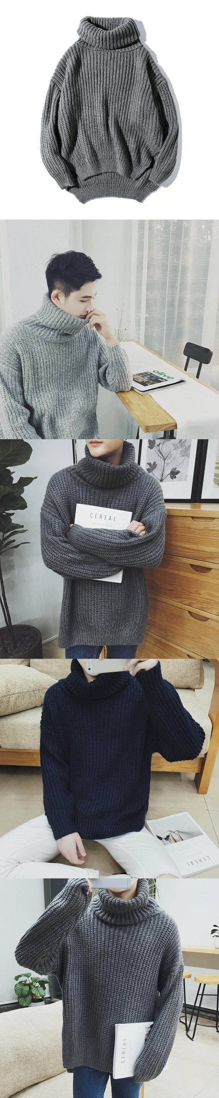 2017 Winter New Pattern Japanese Style Thickening Knitting Solid Color  Can Turn Turtleneck Loose Men Sweater