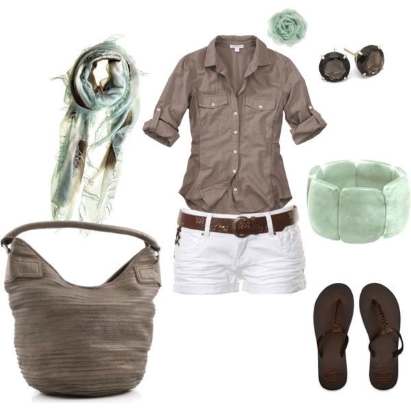 Mint & brown, created by hosefishColors Combos, Fashion, Mint Green, White Shorts, Style, Summer Outfits, Colors Combinations, Cute Outfit, Mint Chocolates