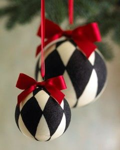 pretty harlequin Christmas ornaments ~ love the red, black and white
