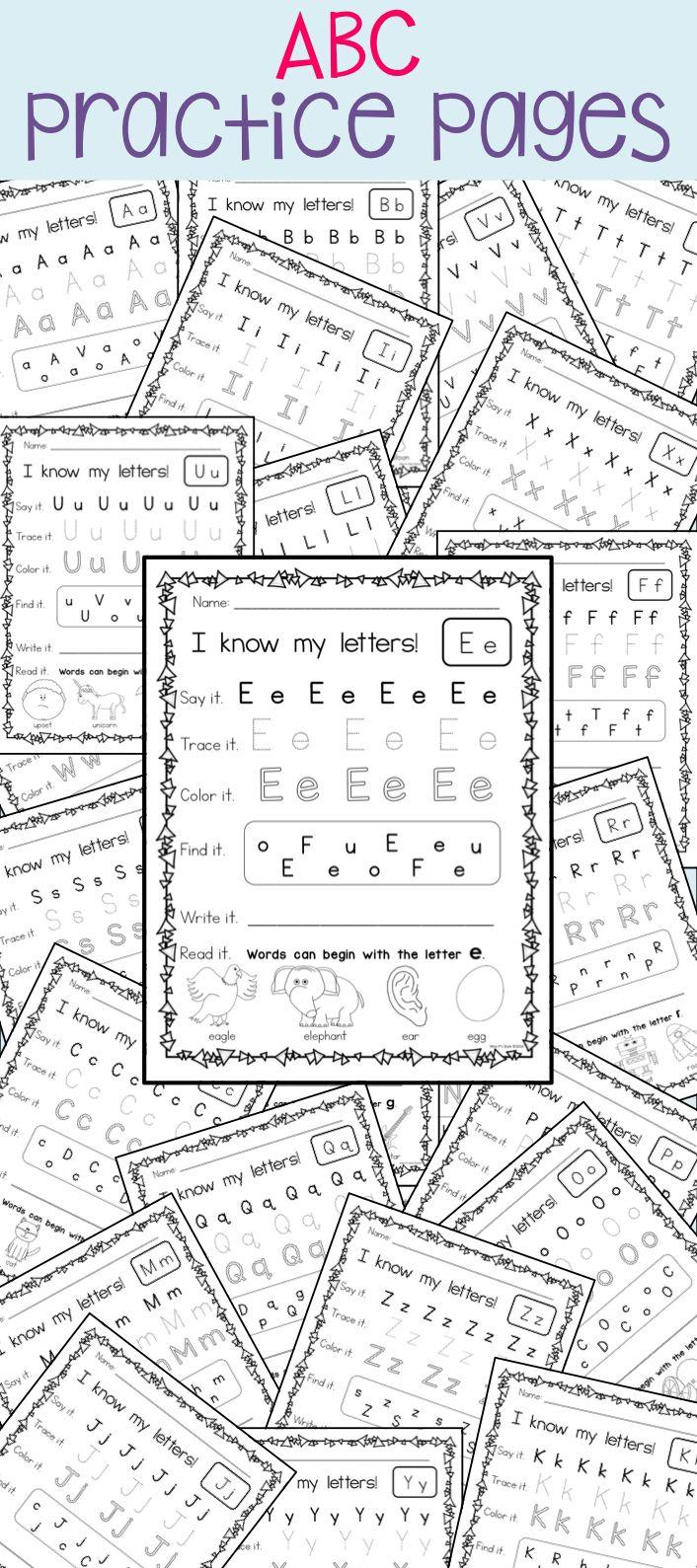 worksheet Kindergarten Abc Worksheets best 25 abc worksheets ideas on pinterest preschool letter practice pages