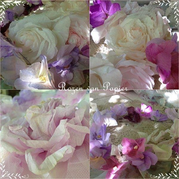 Papieren rozen in boeket met violen en kant
