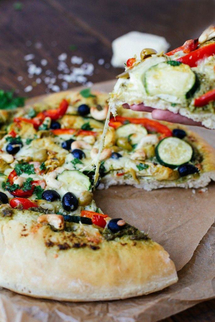 Vegan Roasted Cashew, Pepper, Olive + Artichoke Pizza