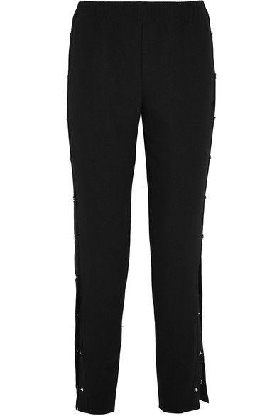 Maje - Faille-trimmed Stretch-crepe Pants - Black -