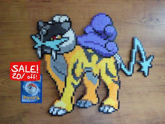 Raikou Pokemon Perler Bead Sprite por PokePerlers en Etsy
