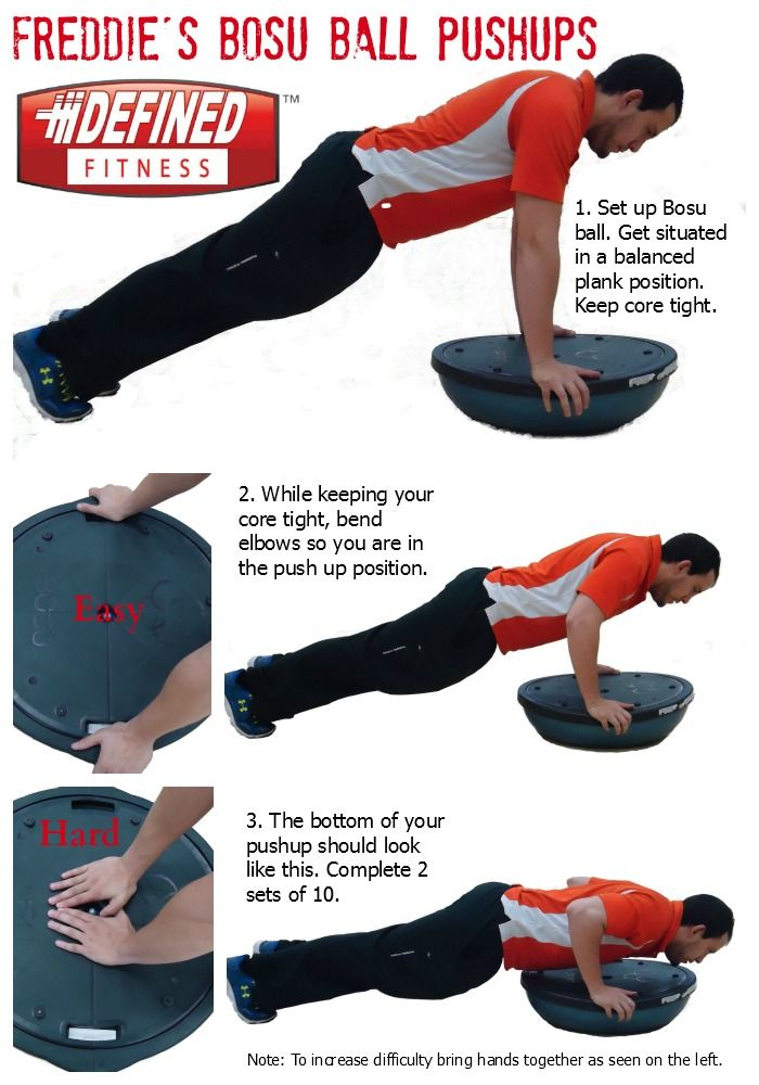Check Out Freddie S Bosu Ball Pushups To Get Those Strong Toned Arms If You Like Freddie S Workout You Can Contact Him At O Workout Bosu Ball Defined Fitness