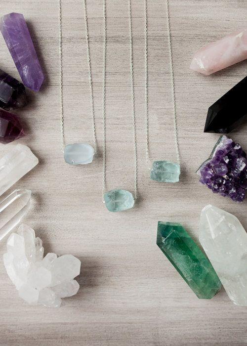 Raw Aquamarine  Necklace / Blue Crystal Pendant / by Korizzashop