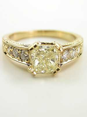 Vintage Style Engagement Ring with Radiant Cut Diamond So pretty!!!!!!