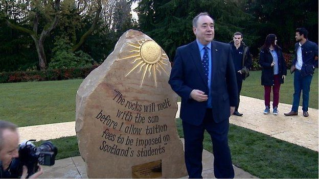 """""""The rocks will melt with the sun before I allow tuition fees to be imposed on Scottish students."""" - Alex Salmond"""