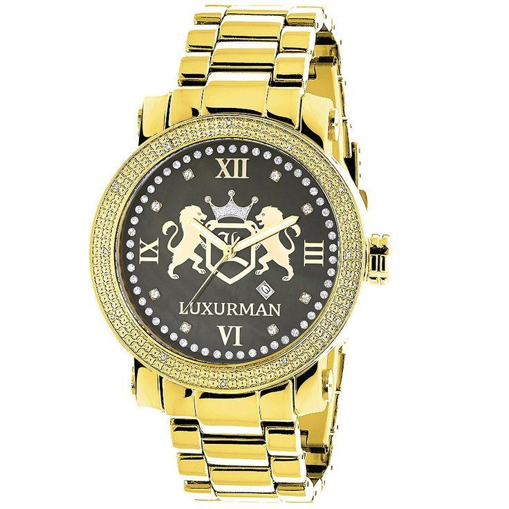 Yellow Gold Plated Watches: Large Mens Diamond Watch Luxurman Phantom