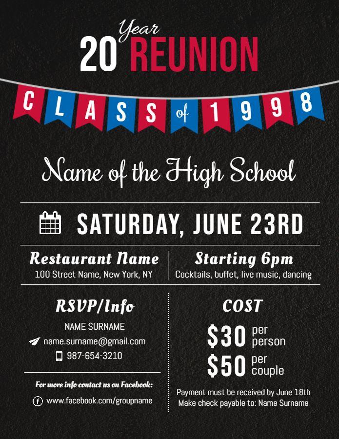 College Reunion Modern Invitation Flyer Template Reunion