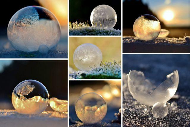 S'amuser avec des bulles de savon - C'est impressionnant de faire des bulles de savon en hiver!