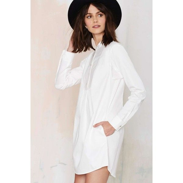 Nasty Gal Night Owl Shirt Dress featuring polyvore fashion clothing dresses going out dresses cotton shirt dress white tuxedo night out dresses shirt-dress