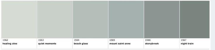 Benjamin Moore QUIET MOMENTS  Right between HEALING ALOE and BEACH GLASS