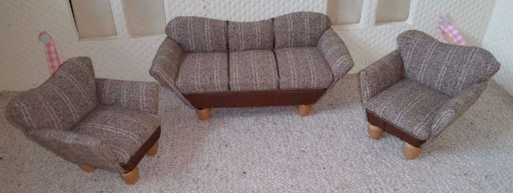 Puppenstube Wohnzimmergarnitur Sofa 2 Sessel 50er Top Zustand