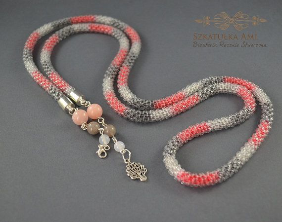 Long necklace gray red necklace seed beads by SzkatulkaAmi on Etsy