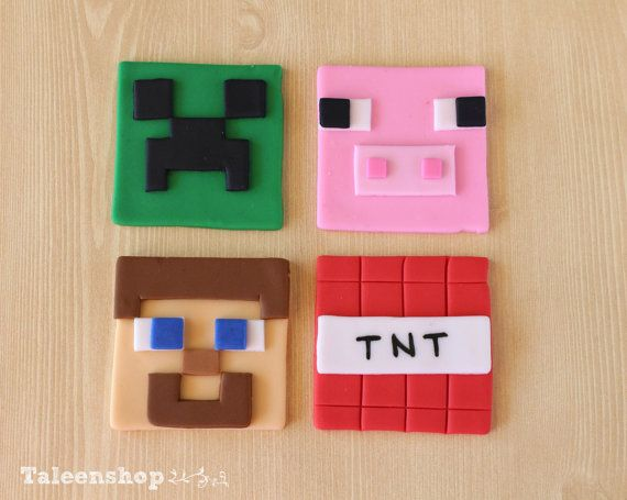 Minecraft cupcake toppers /cookies toppers / fondant by Taleenshop