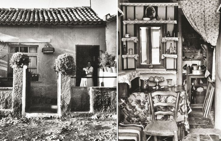 Αριστερά: Καισαριανή 1950-51 © Κέντρο Μικρασιατικών Σπουδών Δεξιά: Εσωτερικός χώρος προσφυγικής κατοικίας στην Καισαριανή, 1950-51 © Κέντρο Μικρασιατικών Σπουδών