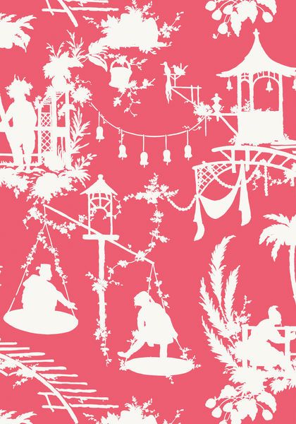 South Sea #wallpaper in #pink from the Resort collection. #Thibaut