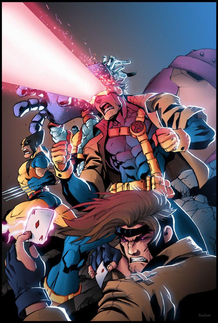 Wolverine,Росомаха, Логан, Джеймс Хоулетт,Marvel,Вселенная Марвел,фэндомы,Gambit,Гамбит, Реми Лебо,X-Men,Люди-Икс,Cyclops,Циклоп, Скотт Саммерс,Colossus,Колосс, Петр Распутин,Bruno Furlani,artist