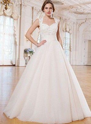 ballgown with Queen Anne neckline @myweddingdotcom