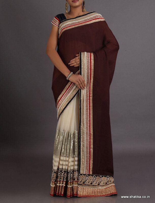Neelam Cream And Brown Sequin Body Patch Designer #LehengaSaree