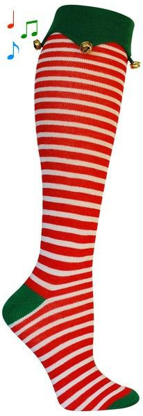 Get your jingle on with these knee high striped socks with bells on the cuff. Fits women's shoe size 5-10.