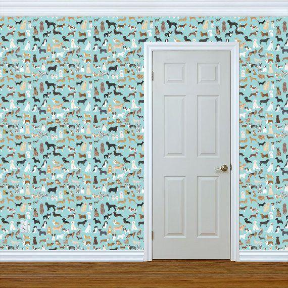 Dogs Wallpaper Light Blue Lots Of Breeds Dog Breed By Etsy Dog Wallpaper Wallpaper Wallpaper Roll