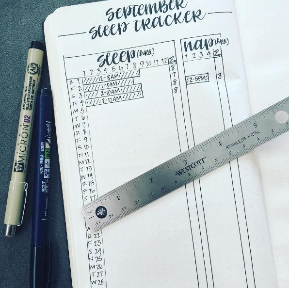 This sleep tracker to make sure you're getting enough Zs: | 29 Bullet Journal Layouts For Anyone Trying To Be Healthy